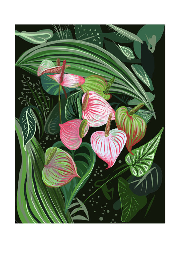 Black and Pink Tropical